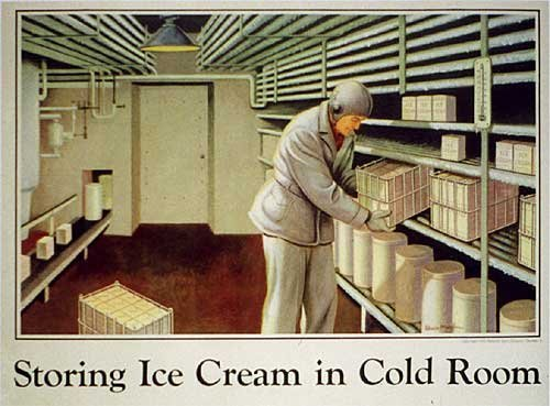1945 National Dairy Council Vintage Industrial Ice Cream Poster