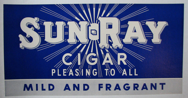 1930's Sun Ray Vintage Art Deco Antique Cigar Advertising Poster Sign