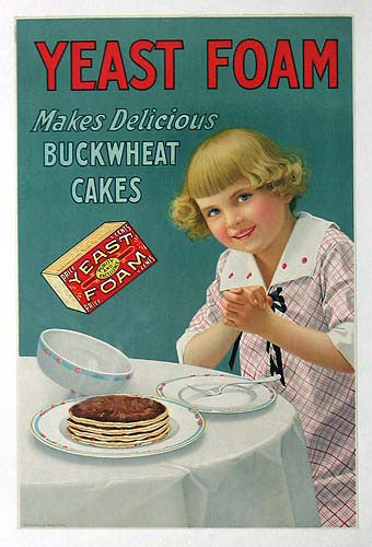 c. 1915 American Yeast Foam Vintage Kitchen Pancakes Poster Sign