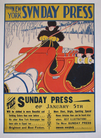 1890's Sunday Press Vintage Literary Antique Sleighing Sled Poster