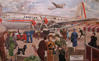 1948 Vintage American Airlines AOA Aviation Travel Poster
