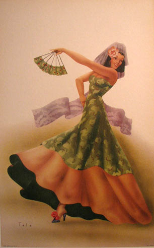 1940's Tango Dancer Girl by Telo Vintage Fashion Poster Print