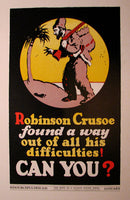 1937 Hope of a Nation Robinson Crusoe Vintage WPA era Poster