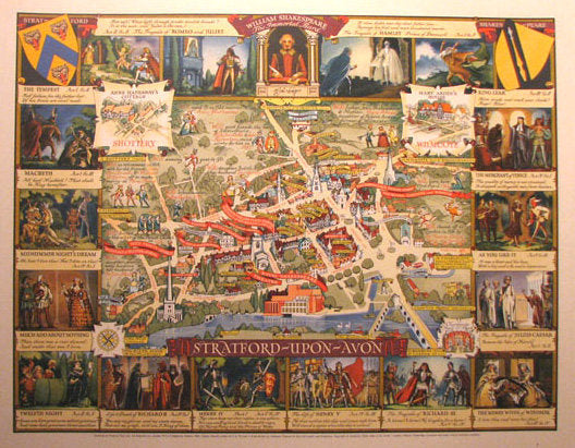 1950's Stratford Upon Avon Shakespeare Antique British Poster Map