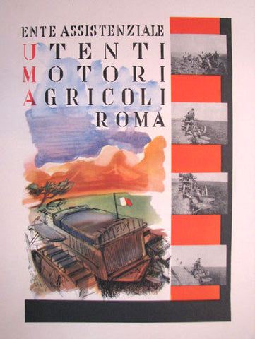 1940's Italian UMA Vintage Fiat Tractor Agriculture Poster Print