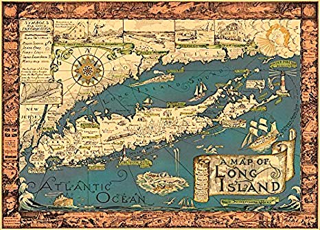 1961 Pictorial Poster Map of Long Island by Courtland Smith