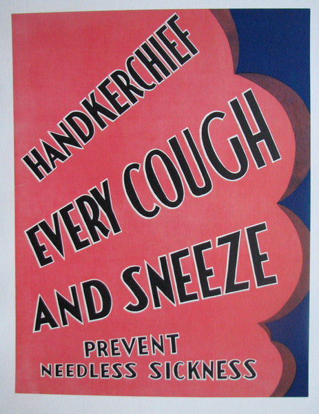 1930's Tuberculosis TB Handkerchief WPA Era Health Medical Poster