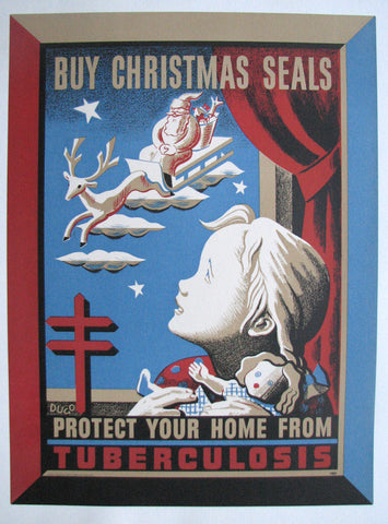 1943 Tuberculosis TB WPA Era Vintage Christmas Seals Poster by Dugo