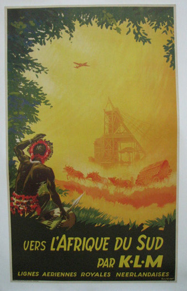 1940's KLM Airline Dutch Vintage South Africa French Travel Poster