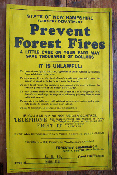 1930's Original Hinsdale NH Vintage Fire Safety Forestry Poster