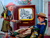 1950's Cowboy, Cowgirl & Dog Old Television TV Show Children's Poster