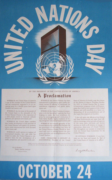 1957 Dwight Eisenhower UN United Nations Day Vintage Poster