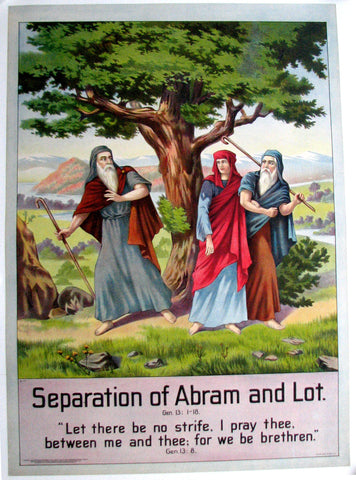 1906 Separation of Abram & Lot Vintage Bible Poster