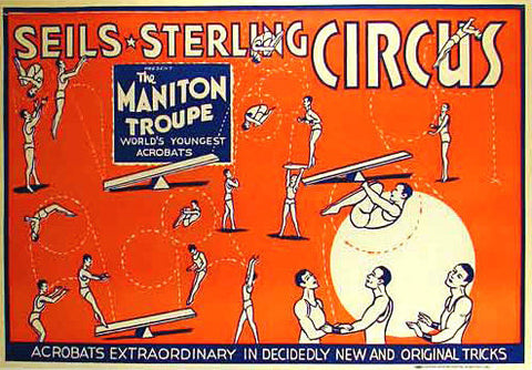 1930 Seils & Sterling Acrobats Gymnasts Vintage Circus Poster