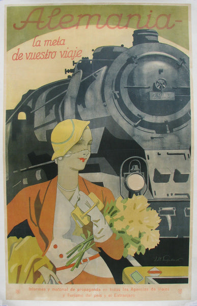 1930's Spanish Railroad Train Vintage Deco Travel Poster for Germany