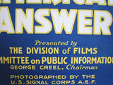 1918 WW1 America's Answer Vintage Silent Movie Poster