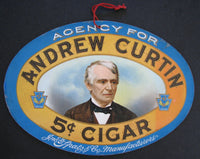 1900 Andrew Curtin 5¢ Cigar Antique American Advertising Sign