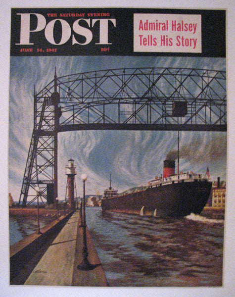 1947 John Atherton Barge Duluth, Minnesota Saturday Eve Post Poster