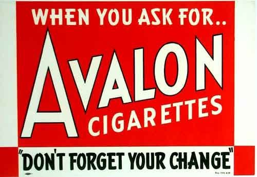 1930's Avalon Cigarettes Vintage Tobacco Red Art Deco Poster