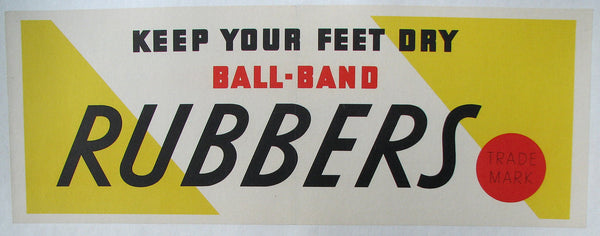 1950's Ball Band Art Deco Big Red Dot Shoe Rubbers Poster Sign