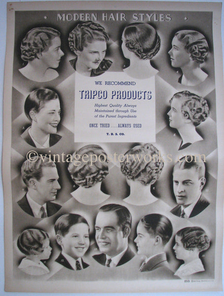 1920's Modern Hair Styles Vintage Barber Beauty Shop Poster Sign