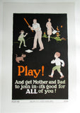 "1937 Hope of a Nation ""Play"" Baseball WPA era Vintage Poster"