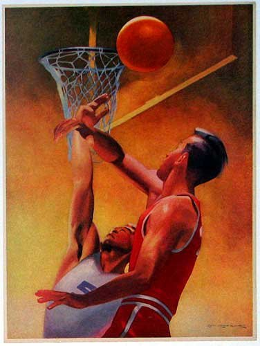 1940's Lon Keller Illustrator Vintage Basketball Sports Poster Print
