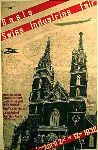 1932 Basle Swiss Switzerland Original Vintage Travel Poster