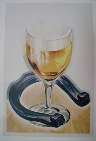 1940's Glass of Beer & Horseshoe Vintage Advertising Poster