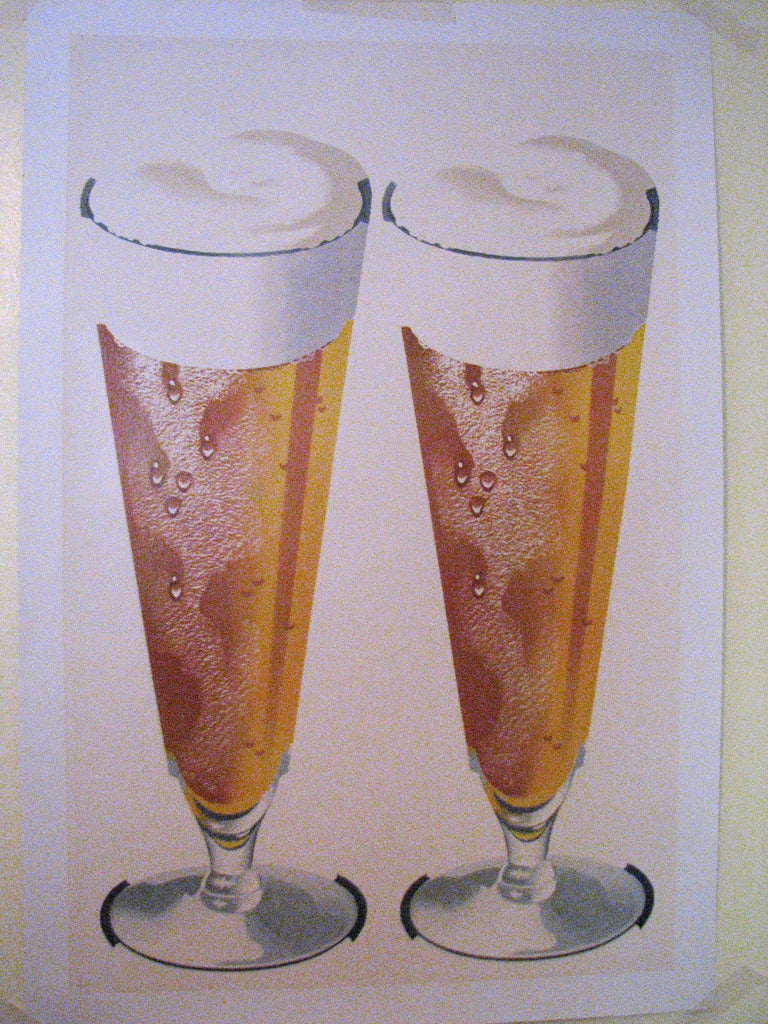 1950's Retro Antique 2 Beer Glasses Vintage Poster