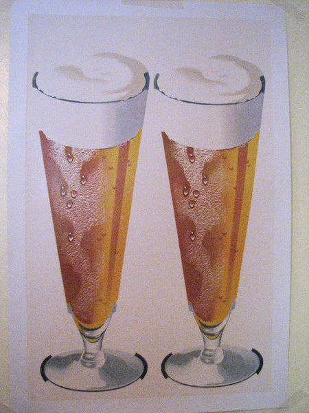 1950's 2 Beer Glasses Vintage Fifties Brewery Poster