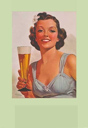 1940's Albert Fisher Vintage Pin Up Advertising Beer Poster