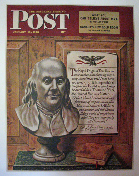 1946 John Atherton Illustrator Ben Franklin Saturday Eve Post Poster