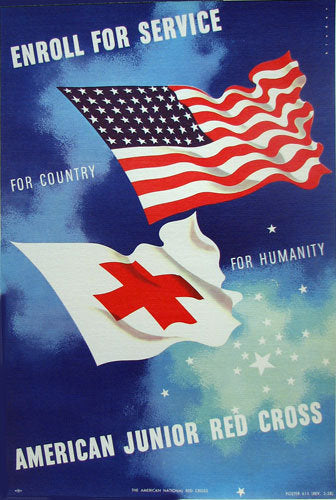 1958 Original Joseph Binder Red Cross Flags Vintage Poster