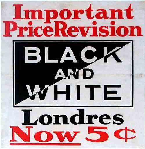 1910 Black & White Londres 5 cent Cigars Vintage Tobacco Poster