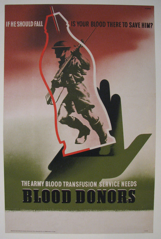 "1943 Abram Games WW2 ""Blood Donors"" British Vintage Poster Small"