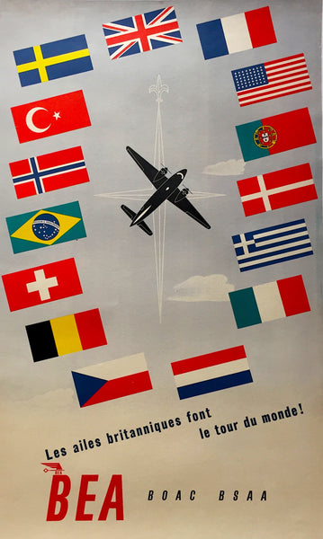 1948 BOAC BEA BSAA Original Vintage Airline International flags Poster