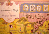 1949 Antique 'Book Lovers Map of the US' Vintage Poster Map