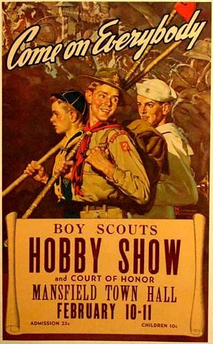 1940's Norman Rockwell Original Vintage Boy Scout Poster Mansfield NH