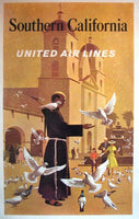 1950's United Airlines Vintage California Travel Stan Galli Poster