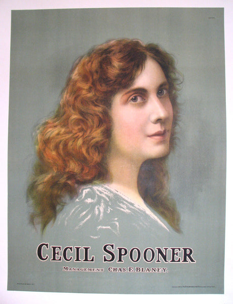 1907 Actress Cecil Spooner Vintage Strobridge Litho Co. Poster