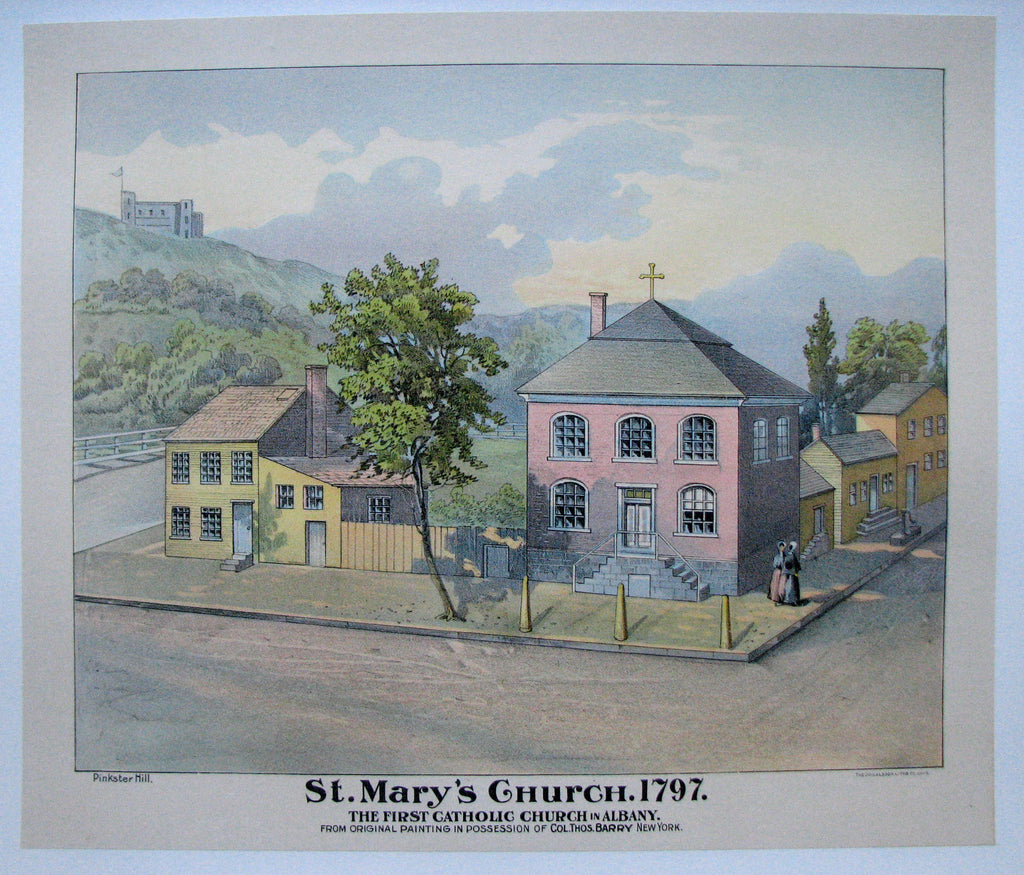 1890's Antique St. Mary's Church of Albany Donaldson Litho Vintage Poster