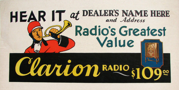 1920's Clarion Floor Model Antique Radio Vintage Poster Sign