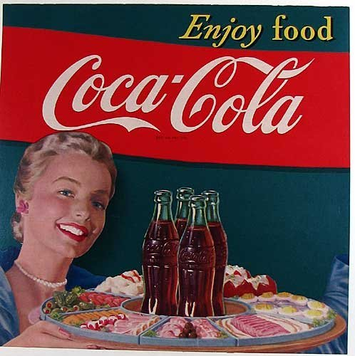 1950's Vintage Coca Cola Bottle American Advertising Sign Poster