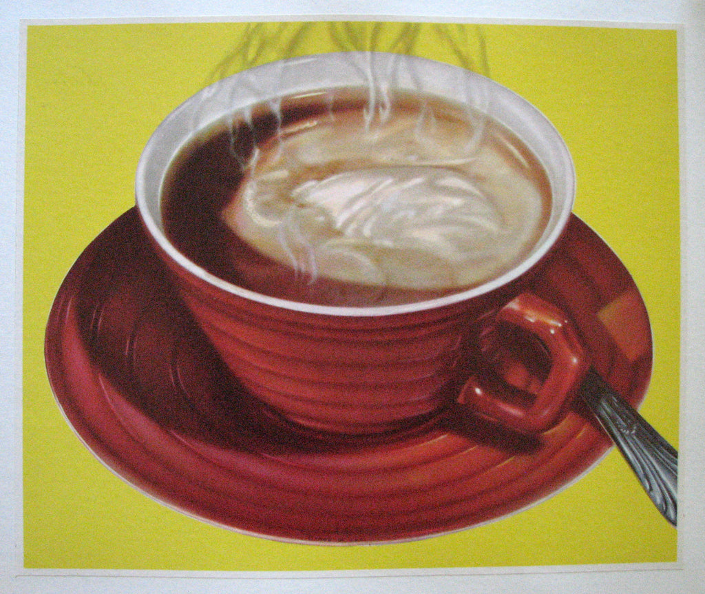 1940's Cup of Coffee Retro Vintage Advertising Poster