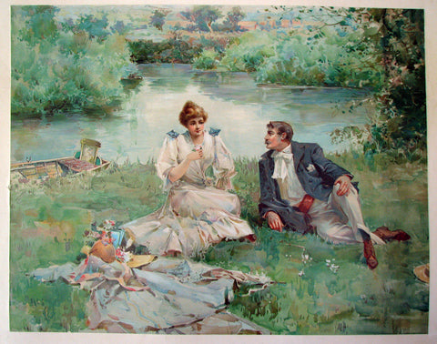 1890's Antique Victorian Fashion & Courting Vintage Poster Print