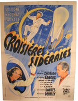 1942 WW2 Vintage French Sci Fi Movie Poster: Sideral Cruises