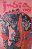 1950's David Klein Artist, India TWA Airlines Elephant Travel Poster