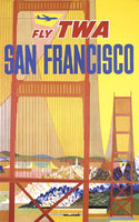 1950's David Klein Artist, San Francisco City Scene TWA Airline Poster