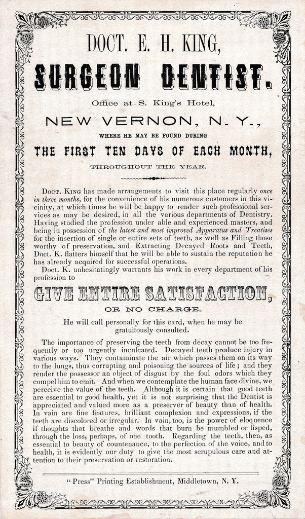 1880's E.H. King Surgeon Dentist Vintage Poster Sign New Vernon NY